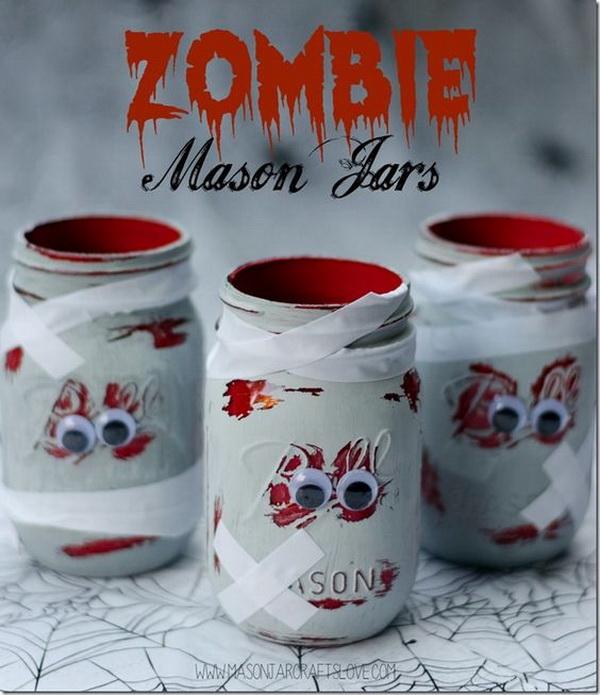 DIY Zombie Mason Jars Halloween Decorations.