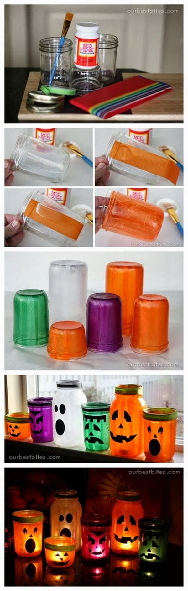 Mason Jar Lanterns for Halloween Decoration.