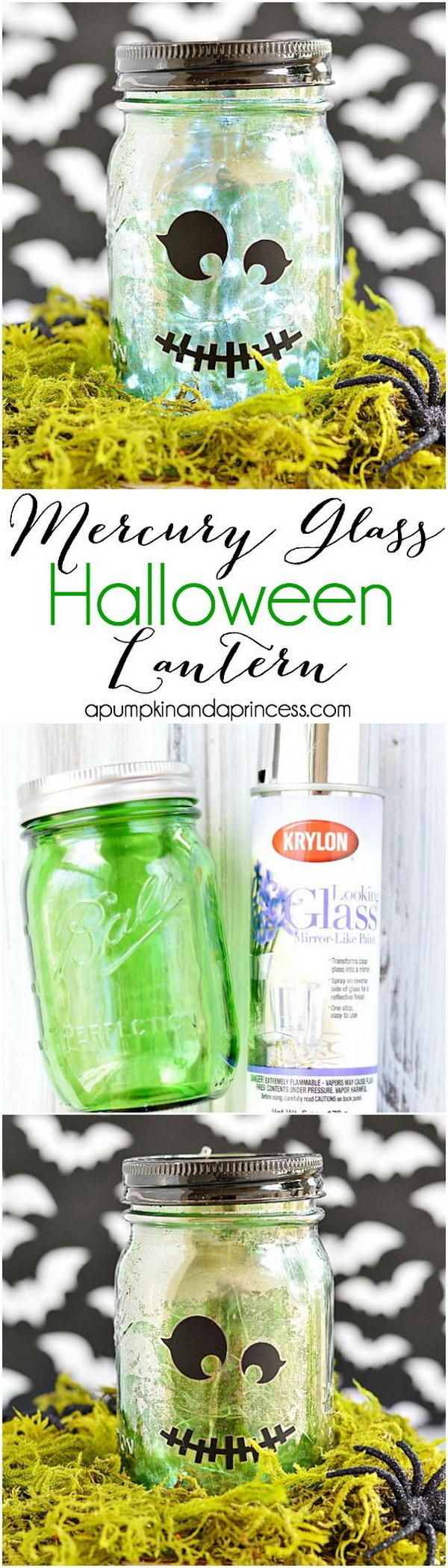 Mercury Glass Halloween Mason Jar.