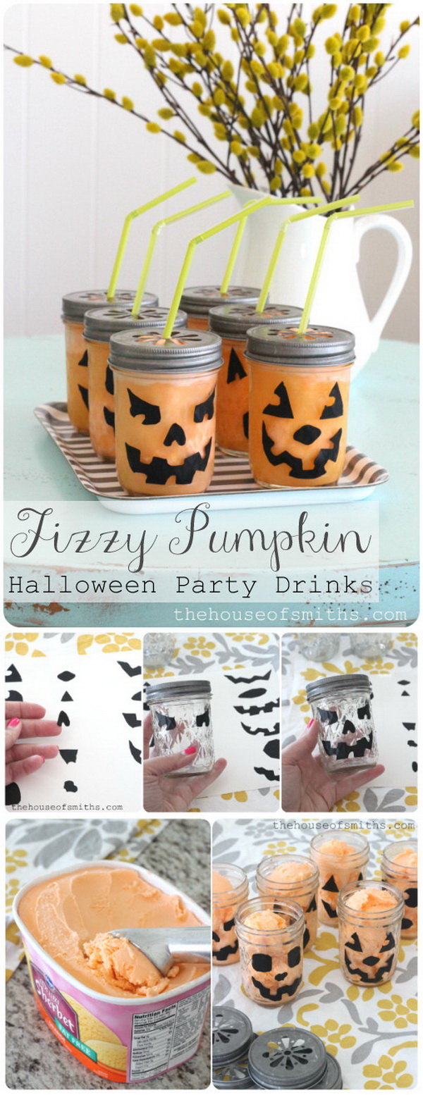 Fizzy Pumpkin Party Drinks.