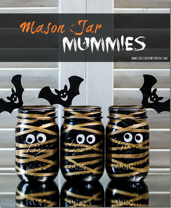 Love these mummy painted mason jars? What you need for this are some spray paint and rubber bands.