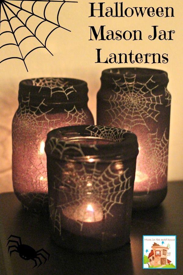 Spiderweb Mason Jar Halloween Lanterns.