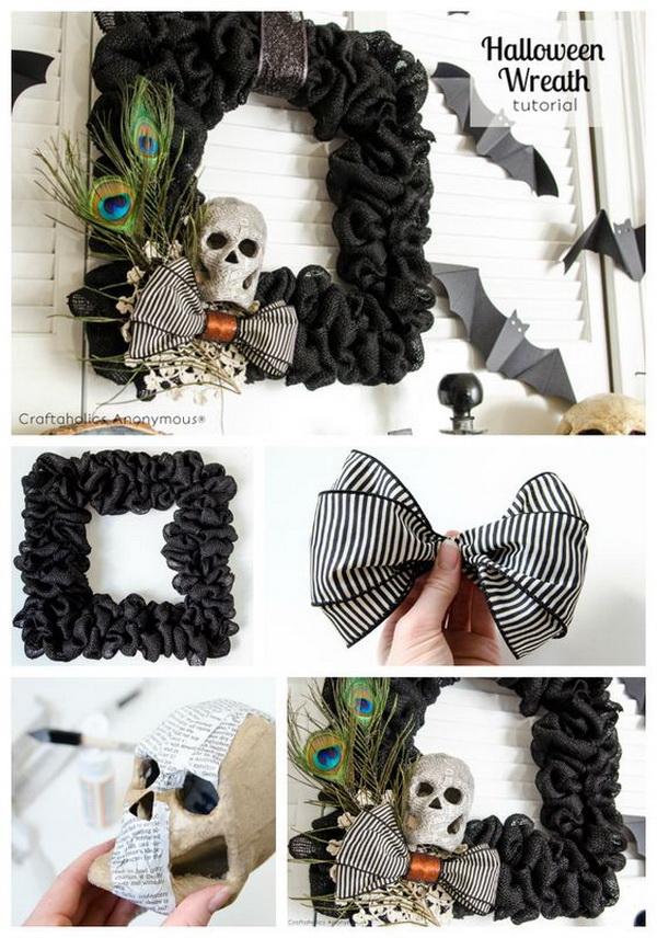 Black Burlap Halloween Wreath.