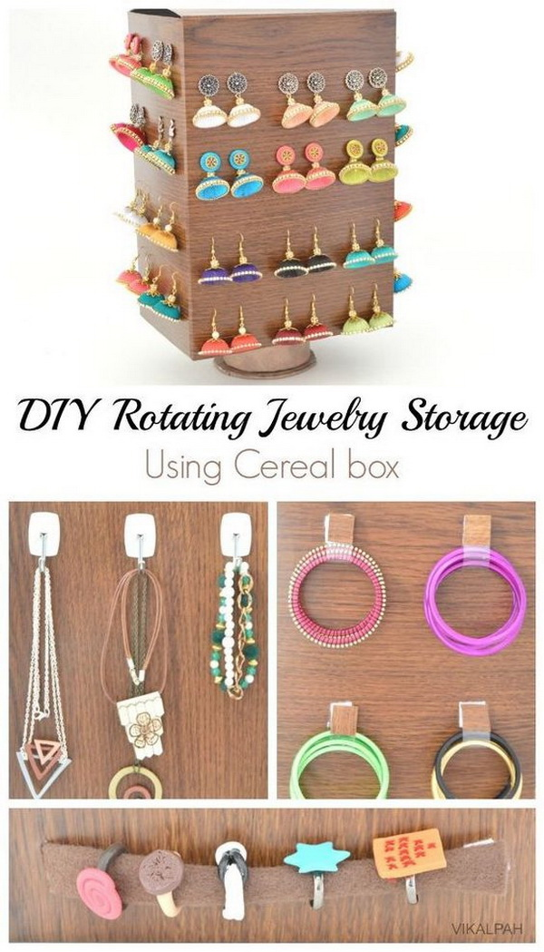 DIY Rotating Jewelry Storage Using Cereal Box. This lovely and practical jewellery holder.