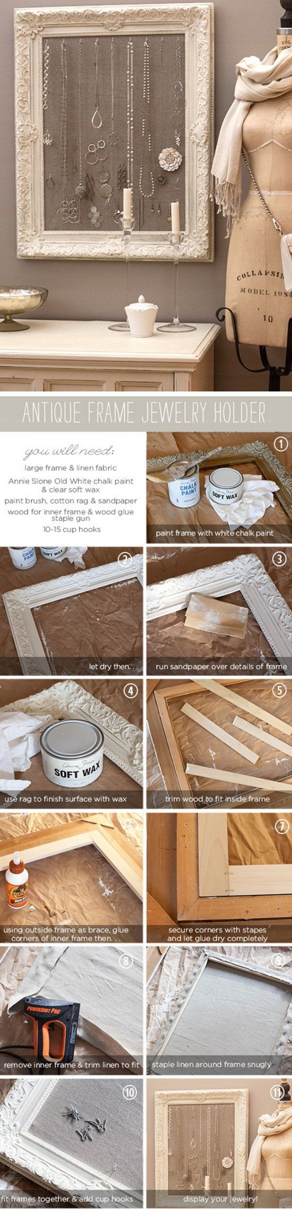 DIY Antique Frame Jewelry Holder. This antique shabby chic frame jewelry organizer can be wall mounted and once the jewellery is on it it's like an ever changing art work!
