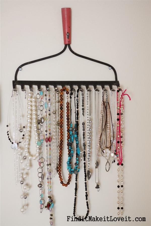 DIY Jewelry Organizer with Old Rake & 30 Brilliant DIY Jewelry Storage u0026 Display Ideas - For Creative Juice