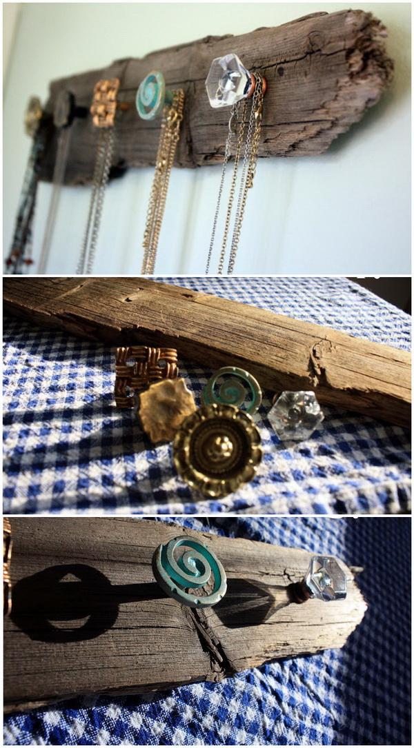 DIY Rustic Necklace Holder & 30 Brilliant DIY Jewelry Storage u0026 Display Ideas - For Creative Juice