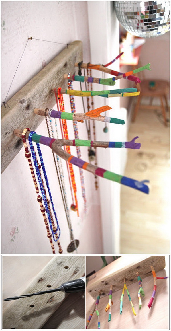 Painted Twigs Jewelry Organizer.