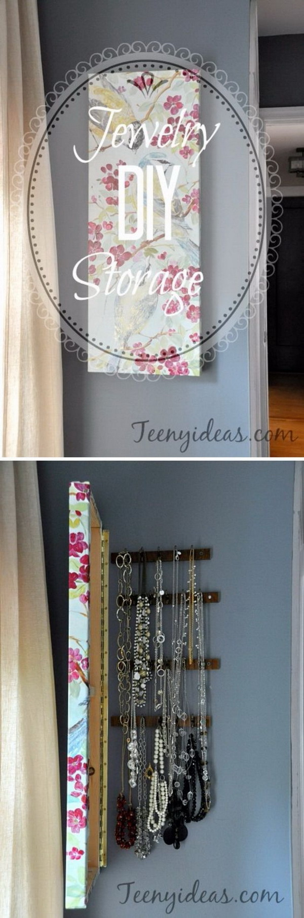 DIY Wall Canvas with Hidden Jewelry Storage & 30 Brilliant DIY Jewelry Storage u0026 Display Ideas - For Creative Juice
