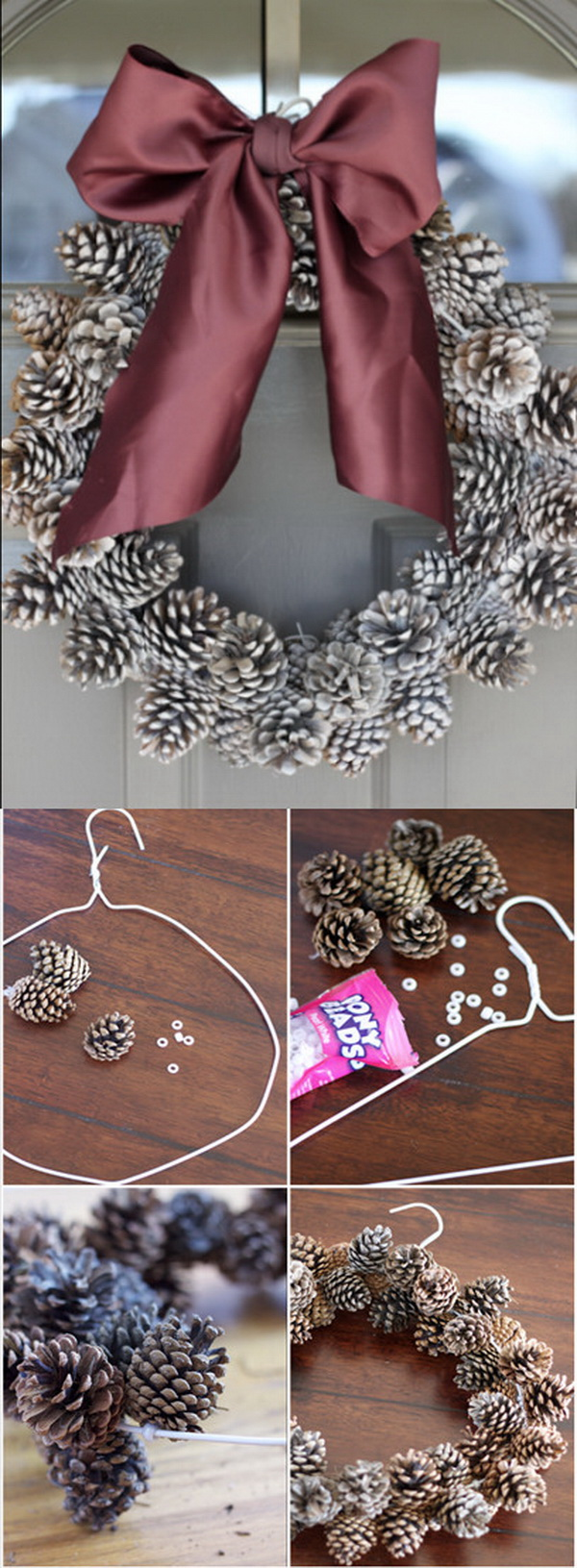 DIY Pine Cone Wreath. The most amazing Christmas pinecone wreath to decorate your home for the holidays.