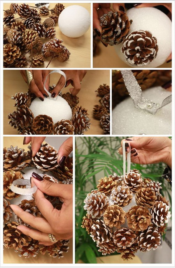 DIY Pinecone Poms for Winter Weddings. A budget-friendly way to create a chic winter look all your own wiht this pom balls with pine cones for your winter occasion.