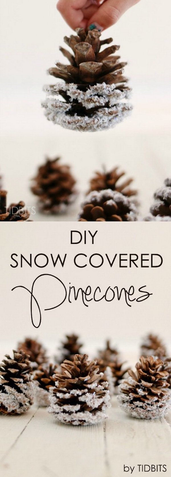 DIY Snow Covered Pinecones. These snow frosted pinecones are easy and inexpensive to DIY and will surely add elegant rustic charm to your Christmas decor!