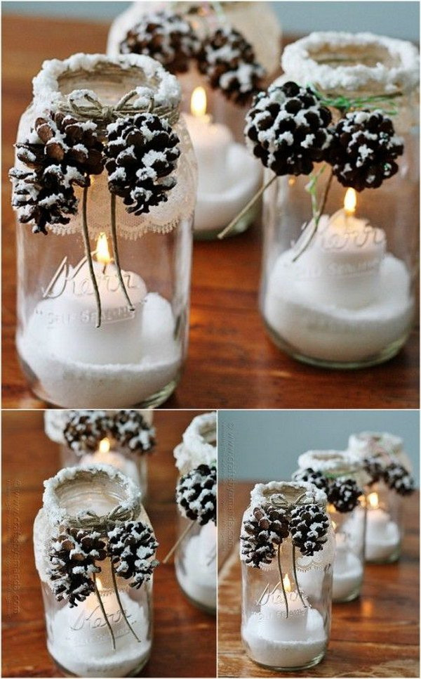 Snowy Pinecone Mason Jar Luminaries. The pretty winter luminaries that appear to be covered with freshly fallen snow. This would make a gorgeous homemade Christmas, winter wedding decoration or used as gifts.