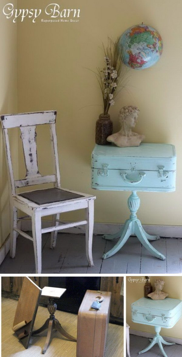Shabby Chic Turquoise Table. Great idea to repurpose your old suitcase with this DIY Suitcase table project!