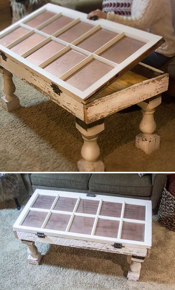 Salvaged Window DIY Coffee Table. Transfer the old salvaged windows into this stylish and functional coffee table! This is a great upcycled furniture that will make a great addition to your living room.