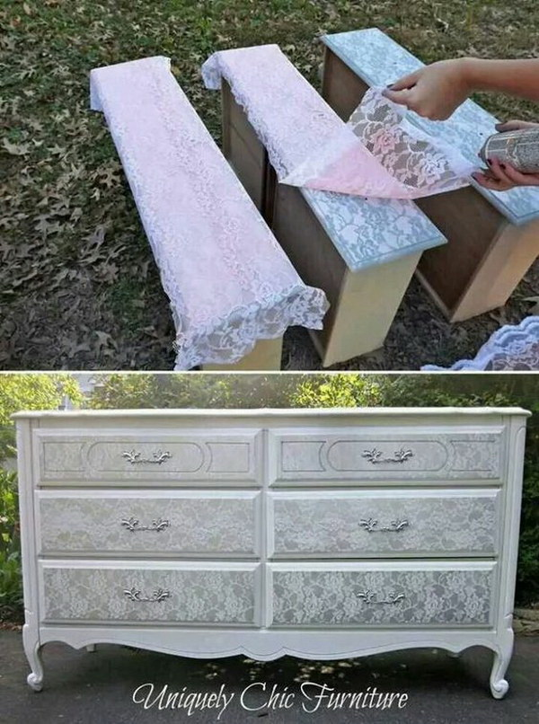 White Lace Stenciled Shaby Chic Dresser. 18 Awesome DIY Shabby Chic Furniture Makeover Ideas   For Creative
