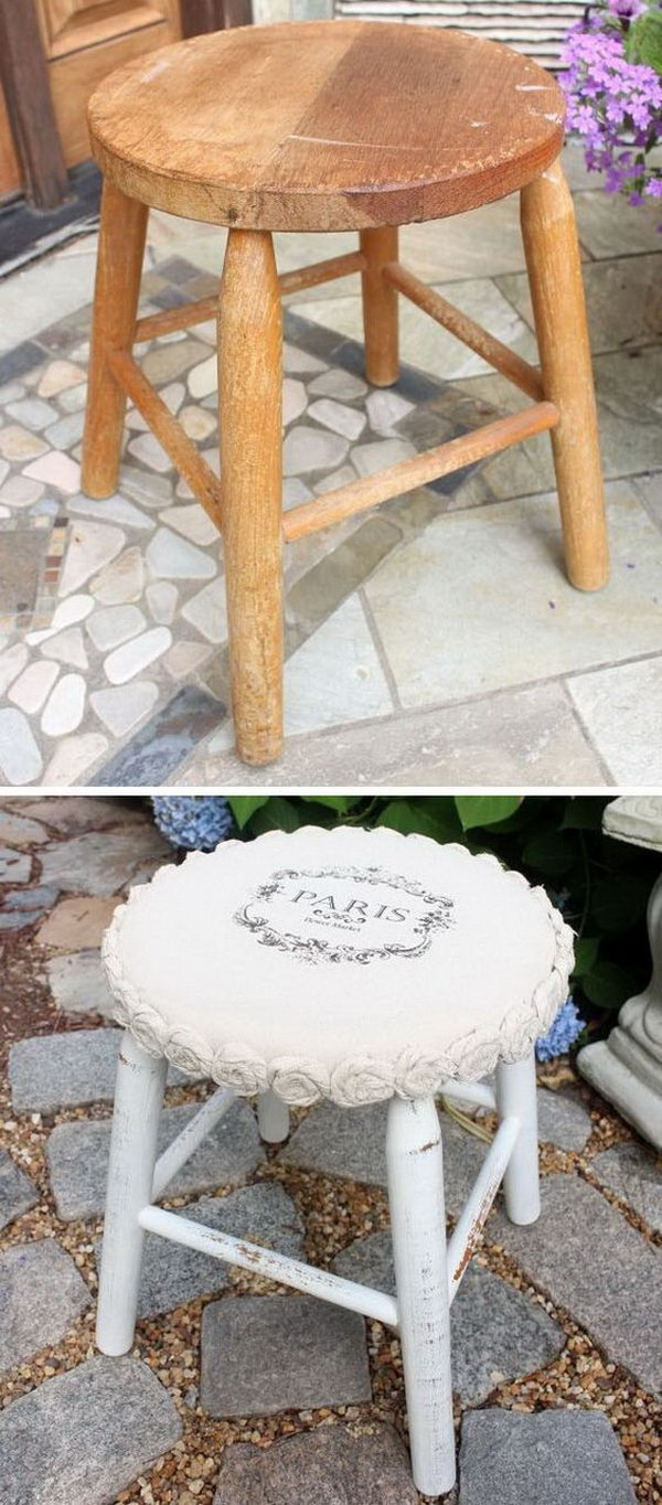 Mini Drop Cloth Rosette Stool Makeover.