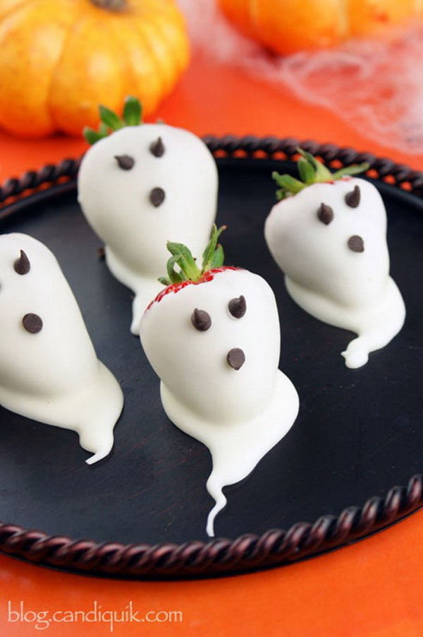 Strawberry Ghosts for Halloween .