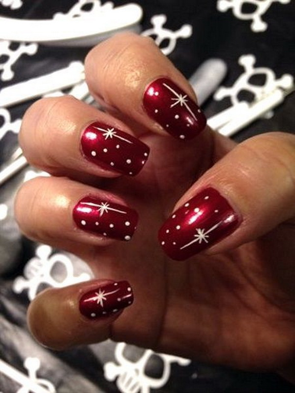 Red Christmas Nail Art with White Designs - 70+ Festive Christmas Nail Art Ideas - For Creative Juice