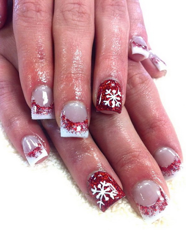70 festive christmas nail art ideas for creative juice red snowflake acrylic nail art prinsesfo Choice Image