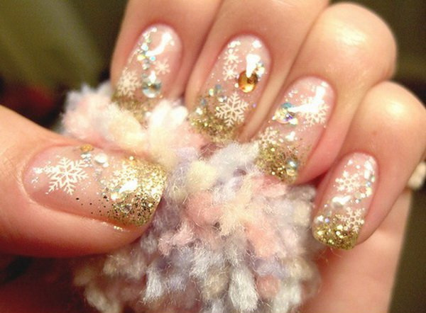 Gold Glitter Beaded Christmas Nail Art.