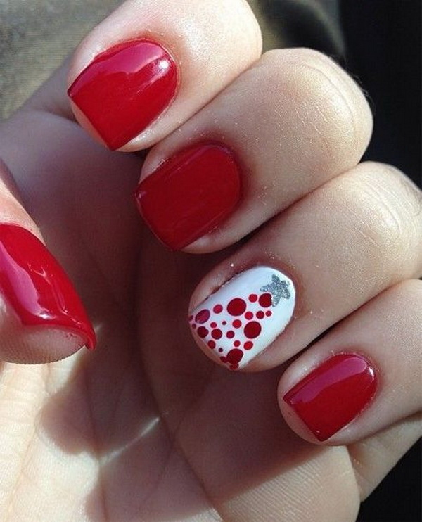 70 festive christmas nail art ideas for creative juice red prom nail design with one white dotted nail prinsesfo Gallery