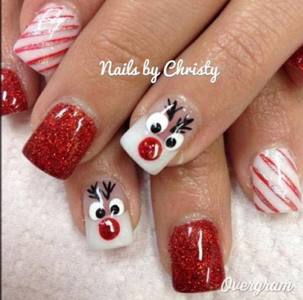 Christmas Reindeer Nail Art Ideas - 70+ Festive Christmas Nail Art Ideas - For Creative Juice
