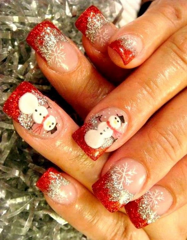 Snowman Christmas Nail Art Design .
