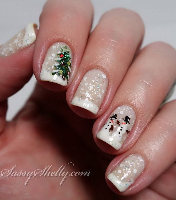 Snowman Christmas Tree Winter Holiday Nails.