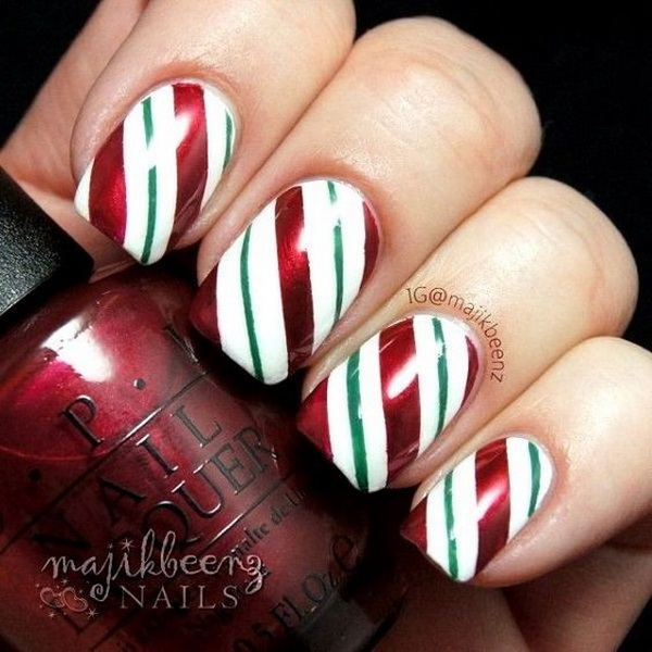 70 festive christmas nail art ideas for creative juice nice stripped christmas nail art designs prinsesfo Image collections