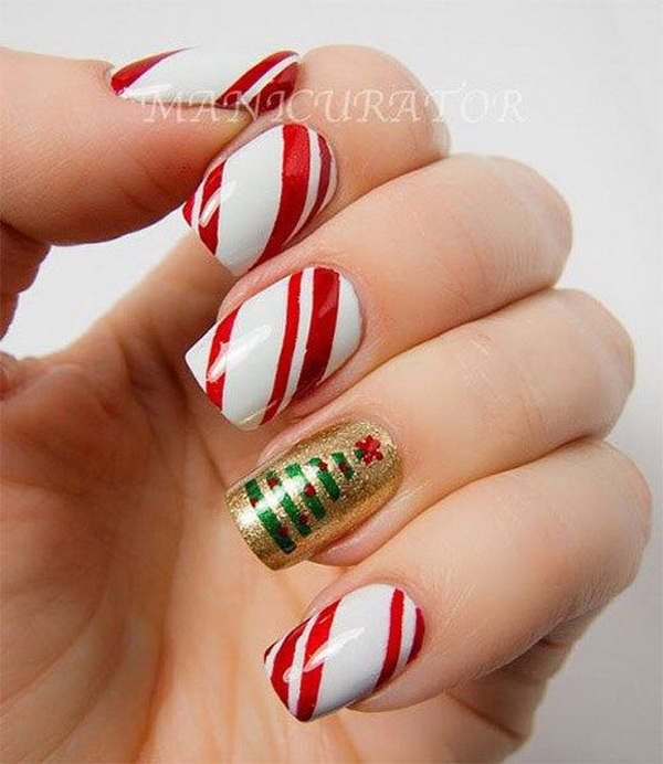 Christmas Tree and Strips Holiday Manicure.