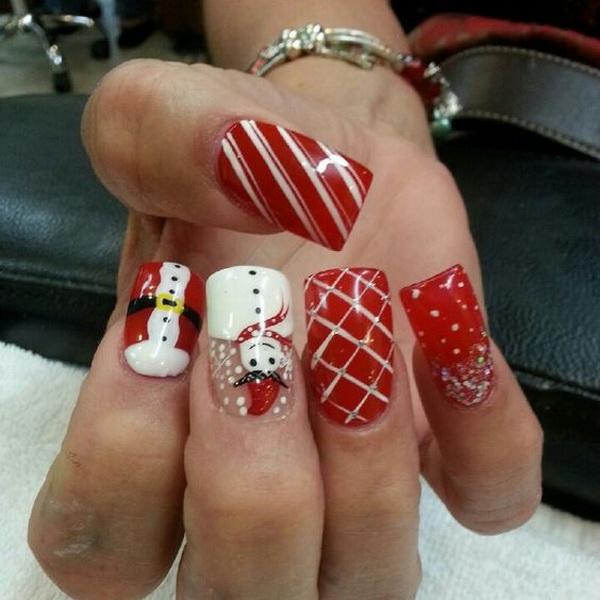 Snowman Christmas Nail Art .