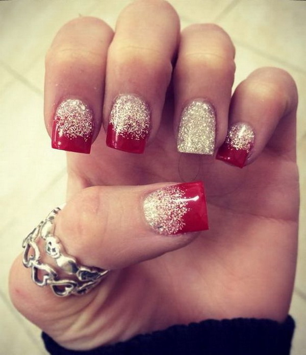 70 festive christmas nail art ideas for creative juice red and white glitter nail art prinsesfo Images
