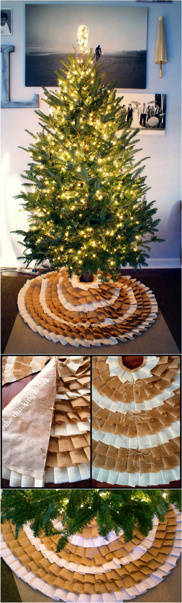 DIY No-Sew Ruffle Christmas Tree Skirt. This DIY burlap tree skirt is perfect for rustic Christmas decor! Learn how to make your own one with just a few supplies.