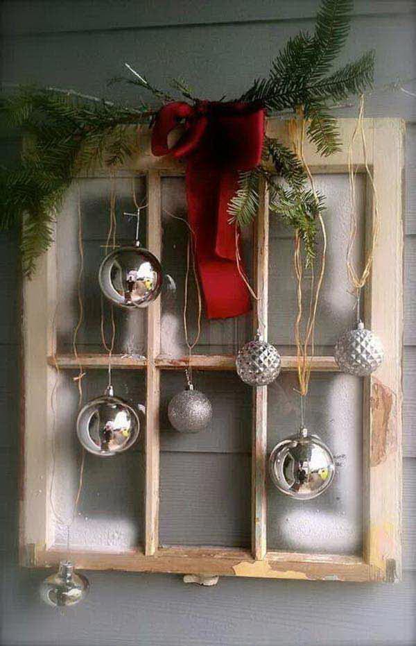 Christmas Door Hanger with Old Windows.