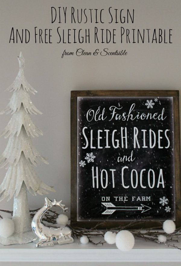 DIY Canvas Sign with Free Sleigh Ride Printable. You can easily create your own rustic canvas with just a few simple supplies for your home decor this Christmas season.