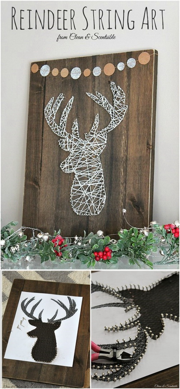 Reindeer Head String Art. Adore your home for that rustic glam touch with this elegant and beautiful string art craft!