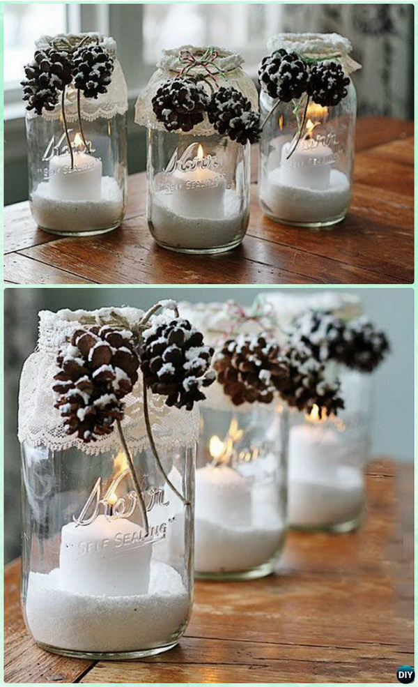 Snowy Pinecone Candle Mason Jar.
