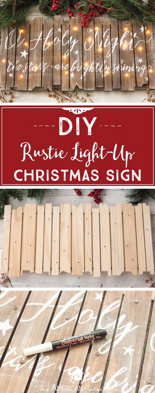 DIY Rustic Light-Up Christmas Sign. Bring a beautiful radiance to any room with these stunning and elegant light-up sign this Christmas.