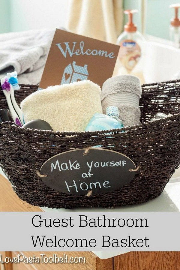 Guest Bathroom Welcome Gift Basket.