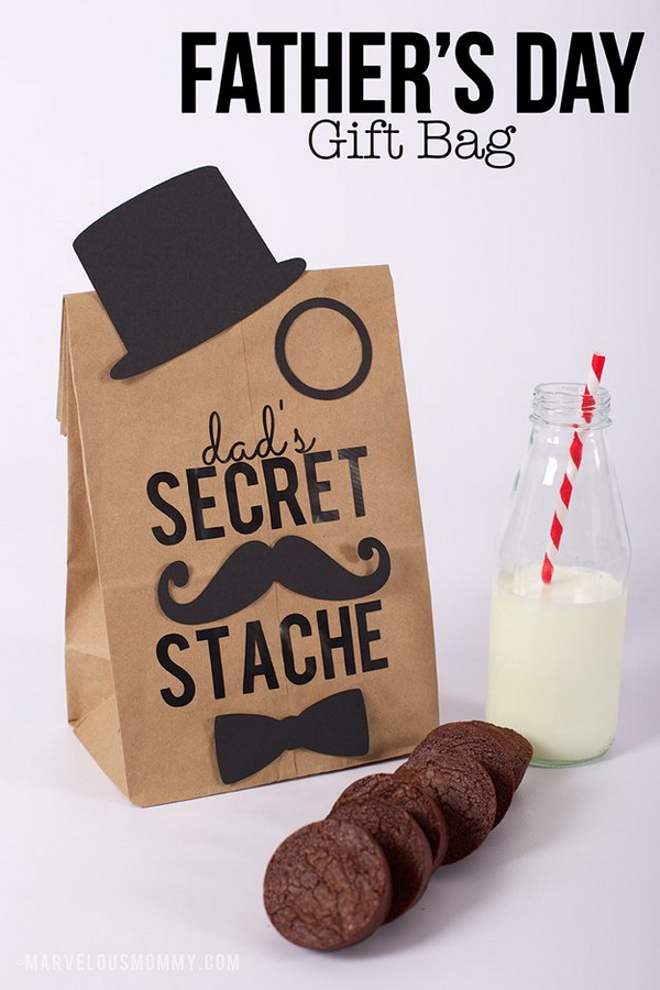 Father's Day Gift Bag. A personalized and fun gift bag for dad with some homemade cookies inside.