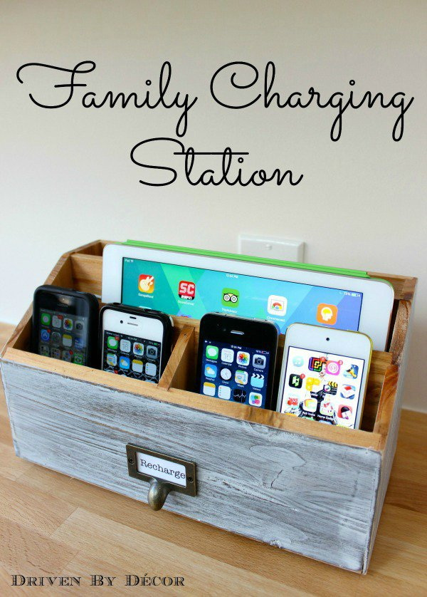 DIY Charging Station. Turn a favorite wine crate or wooden toolbox into a family charging station to organize all of your dad's electronics. Perfect DIY gifts for your dad!