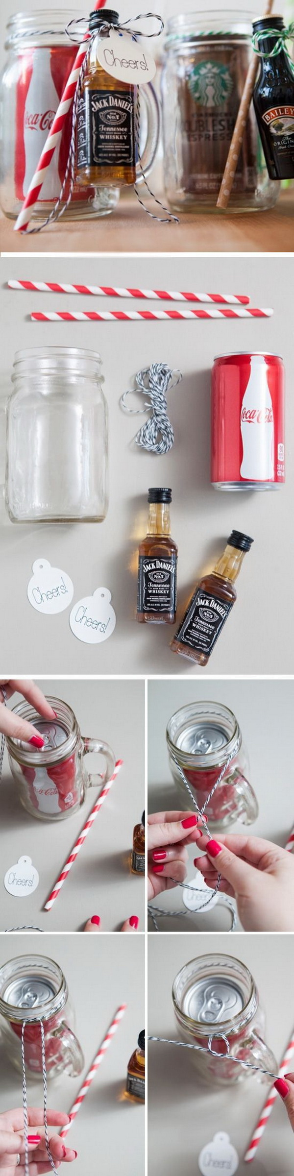 DIY Mason Jar Cocktail Gifts. Another creative and unique way to give drink gifts to men in your life, like your dad or husband, boyfriend.