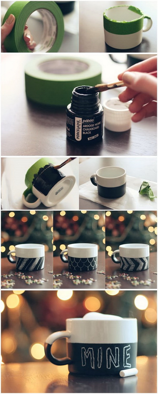 DIY Chalkboard Mug. Make your own DIY painted chalkboard mugs using Dollar Store mugs, Porcelaine chalkboard .