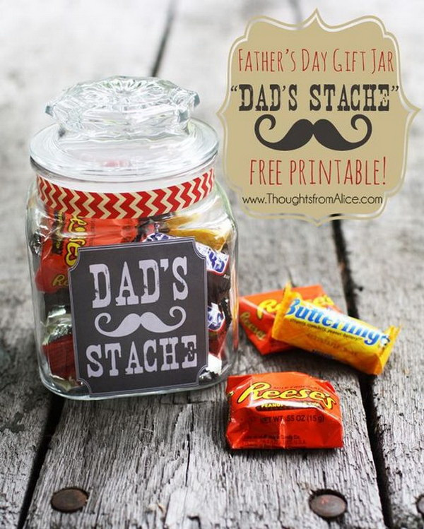 Father's Day Dad's Stache in a Jar. A trendy project with the jar and the moustaches! Something that is really cute and doable, so it must bring a big smile on your dad's face.