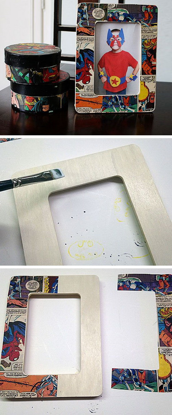 DIY Wood Comic Craft Decoupage Frame. Create this unique comic decoupage photo frame with some leftover comic book pages. It makes a great gift for guys, like your father.