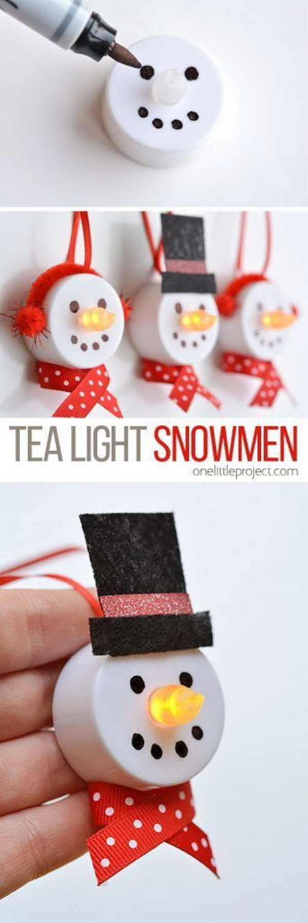 Tea Light Snowman Ornaments. These tea light snowman ornaments are easy to make and look adorable on your Christmas tree and aslo make budget Christmas gifts!