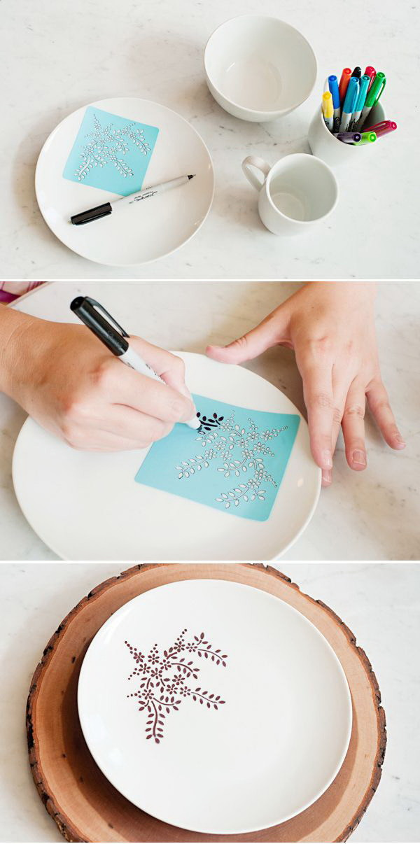 DIY Sharpie Dinnerware. Get creative and grab a Sharpie to make your own gorgeous custom dinnerware sets for the holiday gifts for mom!