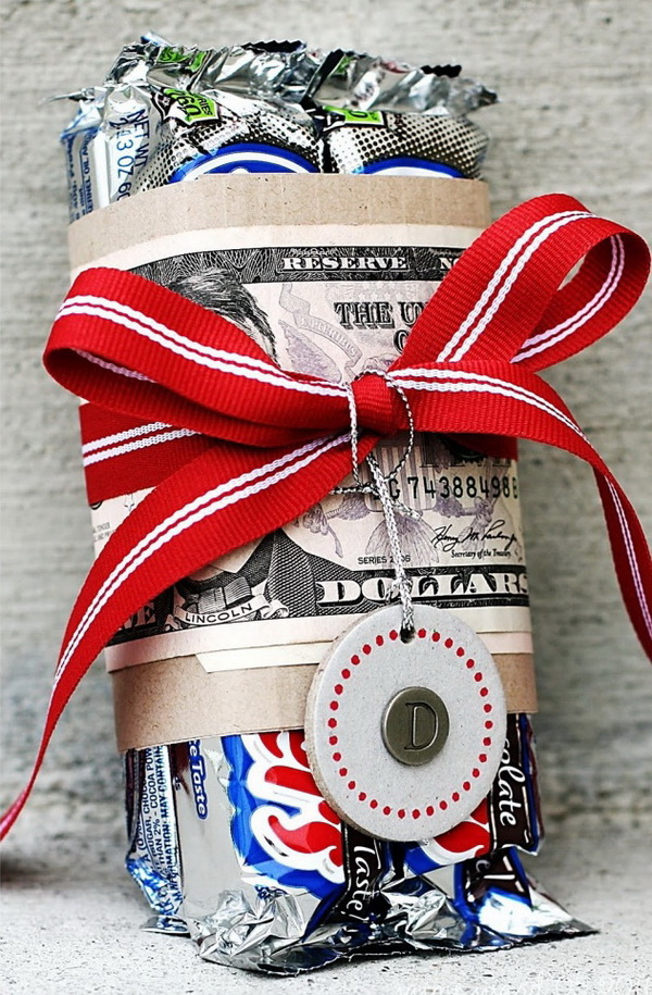 Money Wrapped Candy Bars. A creative way to give momey and candy as gifts!