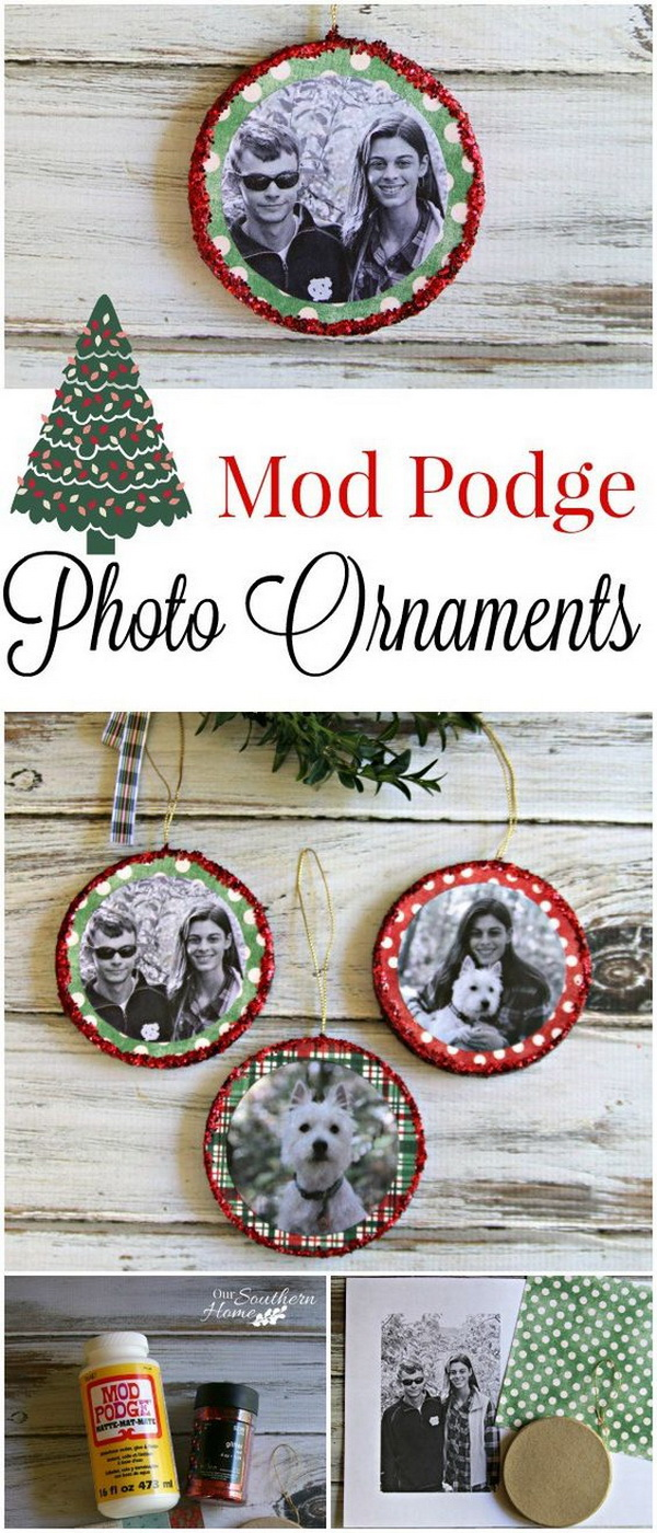 45 personalized diy christmas ornament ideas for for Family christmas ornaments to make